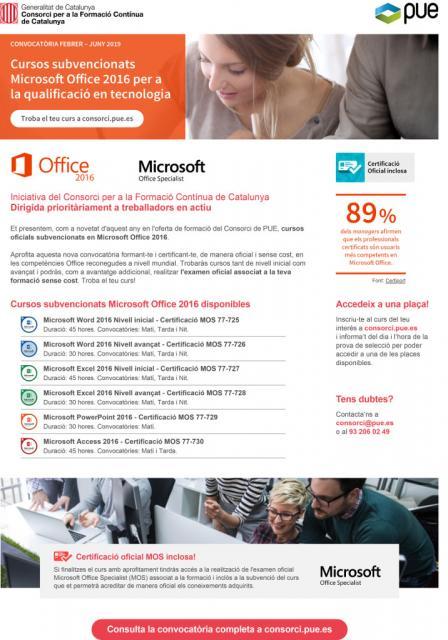 Cursos subvencionados Microsoft Office 2016